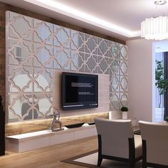 Bring a sense of warmth to your home decor with the distinctive design of this attractive geometric mirrored wall sticker. The clean contemporary design is a great way to update your decor. Fabricated