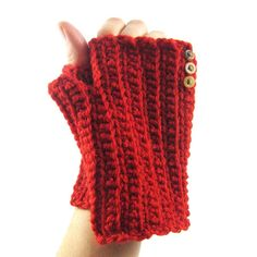 """I saw Red"" Ho Ho Horray for last minute #christmas #gifts #red #buttons #etsy #crochet #fingerlessgloves code: TENOFF for 10% off your purchase #sale #savings shop #handmade #nadiahandmade #hooak #singoutloud by nadiajeantaalbi"