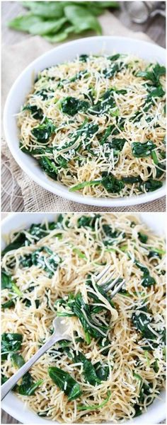 5-Ingredient Spinach Parmesan Pasta Recipe on twopeasandtheirpod.com Love this quick and easy pasta dish! #pastafoodrecipes