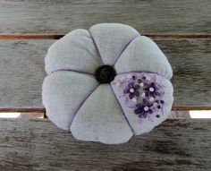 Pincushion, sewing accessory, floral pincushion, Hand embroidered pincushion, needle holder, embroidered linen by Ifeelstitchy on Etsy
