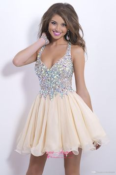 2015 Cheap $59 Beaded Cocktail Dresses Sexy Deep V Neck Short Mini Chiffon Crystal Sheer Back Prom Party Evening Dress CPS168 Under 100