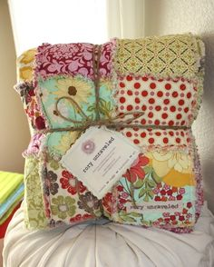 Meadowsweet 2 Large Reversible Rag Quilt Throw by roryunraveled