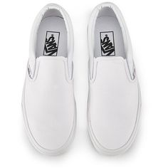 Vans Classic Slip-On Canvas Trainers - True White ($63) ❤ liked on Polyvore featuring men's fashion, men's shoes, men's sneakers, shoes, momma shoes, sneakers, vans mens shoes, mens slip on shoes, mens white canvas sneakers and mens skate shoes