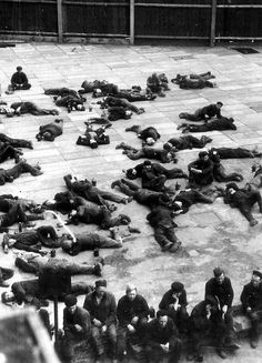 Soviet workers in forced labor during a break. 1943, the province of Upper Silesia, Germany.