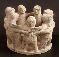 Circle Of Friends Mexican Clay Pottery Candle Holder LG 7 People Folk Art