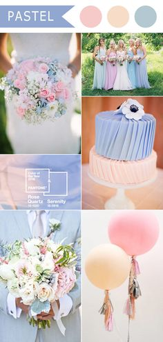 Top 9 Spring & Summer Wedding Color Palettes---Rose Quartz and Serenity, wedding cakes with anemones, pastel wedding bouquets, wedding decorations of balloons Pastel Wedding Colors, Spring Wedding Colors, Wedding Color Schemes, Summer Wedding, Our Wedding, Dream Wedding, Pastel Weddings, Trendy Wedding, Spring Weddings