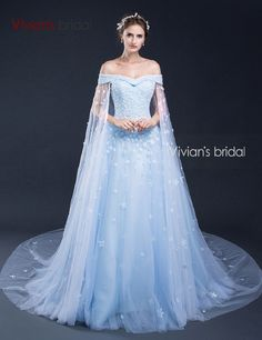 Vivian's Bridal Long Tulle  A-Line Evening Dresses Appliqueswith Flowers  Blue Evening Gowns Dresses robe de soiree SQ50525