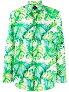 BILLIONAIRE BILLIONAIRE PALM LEAF SHIRT - WHITE. #billionaire #cloth Green Cotton, Billionaire, Size Clothing, Hemline, Palm, Women Wear, Shirt Dress, Mens Fashion, Long Sleeve