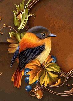 A 42 pieces jigsaw puzzle from Jigidi Tole Painting, Painting & Drawing, Bird Artwork, Bird Illustration, Bird Drawings, Bird Pictures, Wildlife Art, Bird Prints, Beautiful Birds
