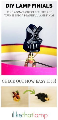 DIY Lamp Finial: Dutch Windmill - Read about DIY lampshade kits and projects at http://ilikethatlamp.com