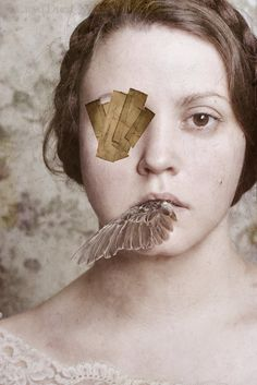 I Cant Look Away - FREE SHIPPING 8x12 Girl Bird Wing Mouth Eye Patch Tape Cream Yellow Brown Face Photo Art Portrait Print. $57.00, via Etsy.