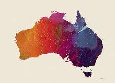 Framed Australia Map 1 Print