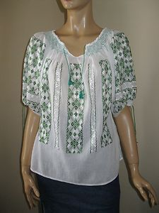 Romanian peasant blouse hand embroidered with green silk thread !