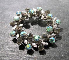 VINTAGE Floral RHINESTONE Pin Brooch Blue Green Aurora by punksrus