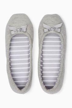 *NEXT    Grey waffle ballerina slippers   Zapatillas grises