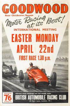 Poster for 1957 Goodwood Easter Monday race Poster Ads, Car Posters, Grand Prix, Maserati, Ferrari, Car Prints, Retro, Vintage Race Car, Vintage Auto