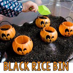 Black Rice Sensory Bin for Halloween - Busy Toddler