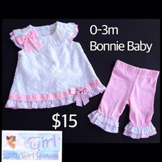Bonnie Baby 0-3m Infant Girls Pink & White Ruffles & Bows 2pc Set $15.  One available in size shown. FREE shipping with purchases over $30.