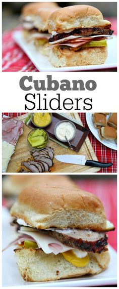 Cubano Sliders: a miniature version of the classic Cubano sandwich.  These sliders are made with grilled, already marinated Smithfield pork tenderloin.  So easy to make and assemble, and these are a perfect, family friendly dinner choice for a 4th of July barbecue.