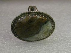 Vintage Ring, Sterling Silver Southwestern Agate, Brown and Gray, Ring, size 7.5, 8.67 gr