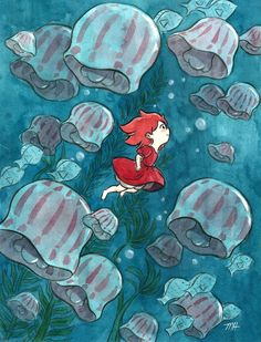 "This is my Ponyo inspired piece for the ""Crazy 4 Cult"" show at Gallery 1988 West! The show opens October 21st and runs until November 5th at their G1988 West location, 7308 Melrose Ave, LA. So happy to be a part of it, especially since this will be..."