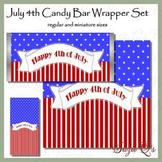 You will receive candy bar wrappers to fit 1.55 oz Hershey Bar and Hershey miniatures (or similar size bars). You may use this for your personal