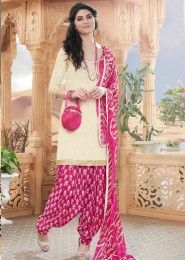 Casual Wear Cream Glace Cotton Lace Border Work Patiala Suit