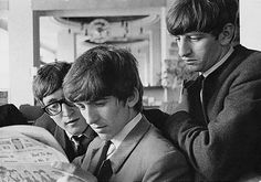 1963 - John Lennon, George Harrison and Ringo Starr.