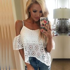Spaghetti Strap Hollow Out Off-shoulder Irregular Lace Blouse