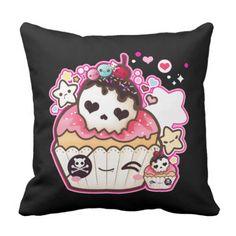 Kawaii skull cupcake with stars and hearts throw pillow