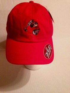 32f079701e50a5 Details about Walt Disney Golfing Mickey Mouse Strapback Hat Ahead Extreme  Fit red Cap