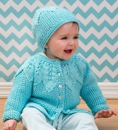 21 Free Adorable Patterns - Including this Star Bright Baby Cardigan & Hat in Red Heart Soft Baby Steps. View Online or Print for Later.