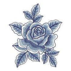 Delft Blue Roses(Sm) machine embroidery designs