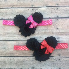 Minnie headband - Minnie bows - minnie mouse inspired headband - newborn headband - baby headband - baby girl - bow headband - Birthday bow by BBgiftsandmore on Etsy
