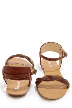 Cute Brown Sandals - Ankle Strap Sandals - $20.00