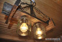 Люстра из бутылок & проч поделки Mason Jar Lamp, Creative Home, Luster, Firewood, Light Bulb, Projects To Try, Table Lamp, House Design, Lighting