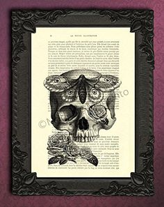 skull moth poster, human skull roses art print in black and white, gothic skull wall art, human anatomy dictionary art print on French book page, skull wall art, moth art. Each illustration is printed on a beautiful antique book page from a French magazine called La Petite Illustration from around 1910. Please keep in mind that you will not get the exact same page as shown in the image, but you will get a similar antique book page from the same magazine. Each print is unique. You…