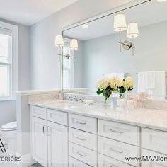 White Bathroom cabinets with marble Countertops  Contemporary  bathroom  MA  Allen Interiorsbathrooms   silver gray walls beveled mirror white bathroom vanity  . Silver And White Bathroom Ideas. Home Design Ideas