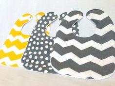 Baby Bib Set - Modern Baby Bib Set- Grey & Yellow Fabric - Chevron Bibs- Polkadot Bib - White Minky Fabric Backing - Handmade Baby Gift