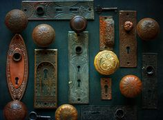 Rustic Door Hardware Vintage Entry Art Rustic by TheRoostFineArt