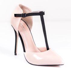 Carvela Laina Nude and Black Court Shoe | ACHICA
