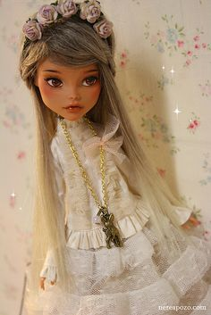 BIANCA Ooak Monster High doll - lace dress, adorable deer charm necklace, and flowered head band