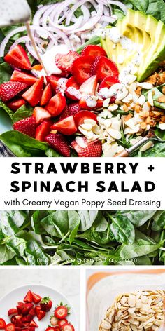 Strawberry Spinach Salad with poppy seed dressing and avocado is nutritious, delicious and easy to make. Oil free, vegan and ready in 5 minutes! Easy, healthy vegan recipe perfect for lunch, dinner or entertaining! Spinach Salad Recipes, Easy Salads, Healthy Salad Recipes, Whole Food Recipes, Vegan Lunch Recipes, Vegan Lunches, Clean Eating Vegetarian, Vegan Recipes Healthy Clean Eating, Spinach Strawberry Salad