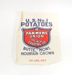 Vintage bank bag us bank of oregon blue print on cotton canvas vintage potato sack butte montana farmers union trading company mountain grown potatoes red malvernweather Images