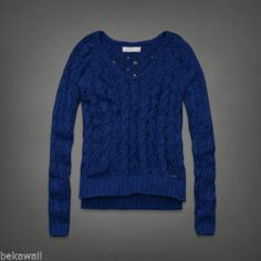 NWT Abercrombie & Fitch Jorie Sweater V-Neck Cable Knit Blue And Navy Size M
