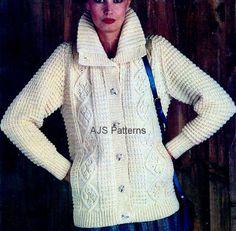 Vintage ladies aran jacket knitting pattern pdf womens cable collar pdf knitting pattern for a ladies large collared aran cardigan instant download dt1010fo