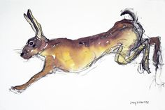 Jumping Hare Painting  - Jumping Hare Fine Art Print