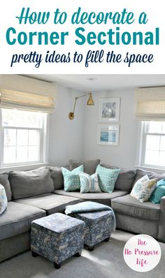 Decorating around corner sectionals can be tricky, so these tips on how to decorate above a corner sectional sofa in your living room are super helpful. Click here to get pretty ideas for wall decor above your couch, plus a free decorating ebook! #livingroom #decoratingtips #homedecor #decorating #decorideas