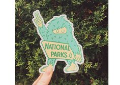 Ello There Print Co. | National Parks Sasquatch | Where do you find a Sasquatch?  In one of our lovely America National Parks of course!  Bring along this peace spreading, tree loving Sasquatch on your next roa