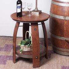 Wine Barrel Side Table with Shelf is made from recycled oak barrels. This is part of the Eco-friendly Wine Furniture Collection. End Table Sets, End Tables With Storage, Side Tables, Wine Barrel Furniture, Table Furniture, Living Furniture, Furniture Ideas, Wine Barrel End Table, Barrel Bar